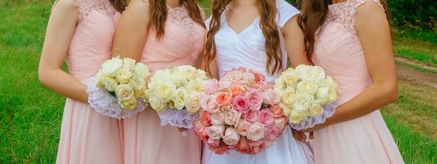 Pink bridesmaid posies