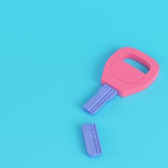 Pink broken key on bright blue background in pastel colors. minimalism concept. 3d render