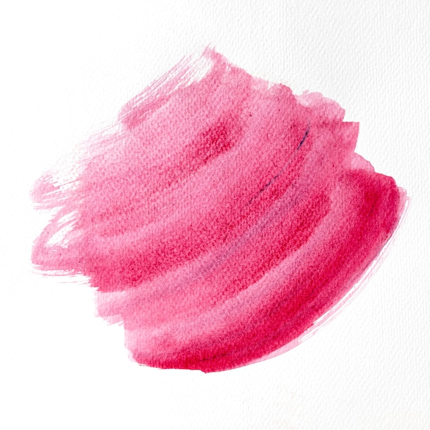 Pink brush stroke on white background