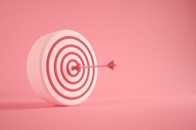 Pink bullseye 3d rendering concept