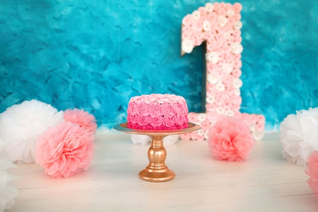 Pink cake on a blue background
