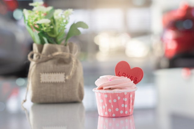 Pink cake sweet homemade pastel color on bokeh blurred background
