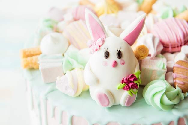 Pink cake with bunny for children's birthday