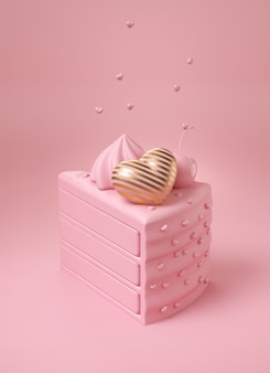럭셔리 스트라이프 골드 하트와 핑크 체리 핑크 케이크