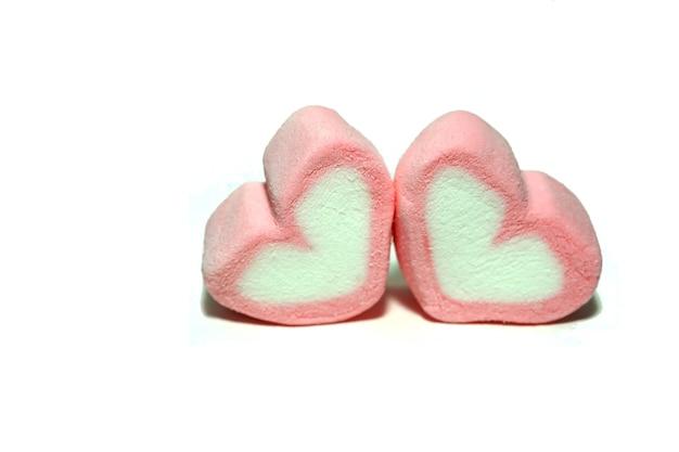 흰색 바탕에 발렌타인 데이 핑크 캔디 하트