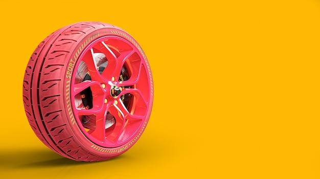 黄色の背景にピンクの車のホイール。テキストまたはロゴ用のスペースをコピーします。 3dレンダリング。