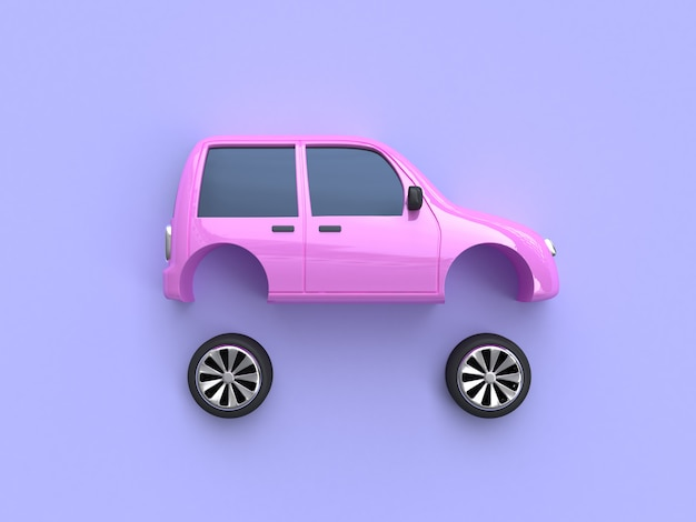 Pink car and wheels abstract 3d rendering