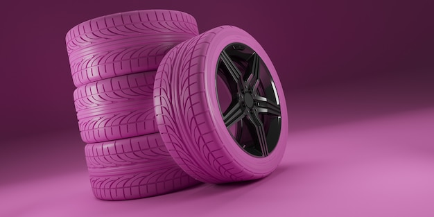 Pink car wheels on pink background