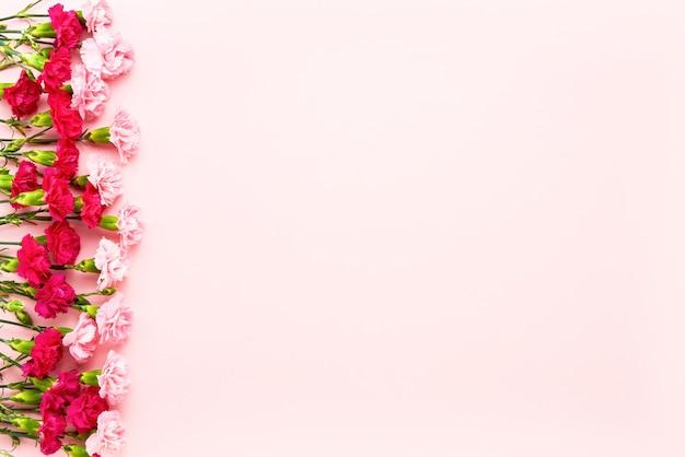 분홍색 벽에 분홍색 카네이션 꽃 테두리입니다.