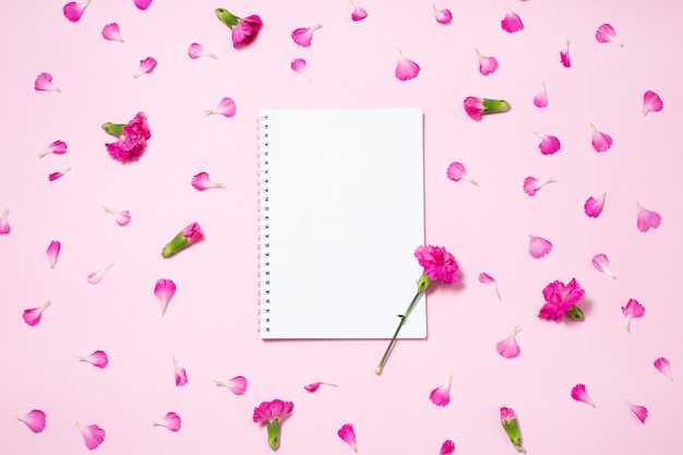 Pink carnation flowers and and petals with open notebook