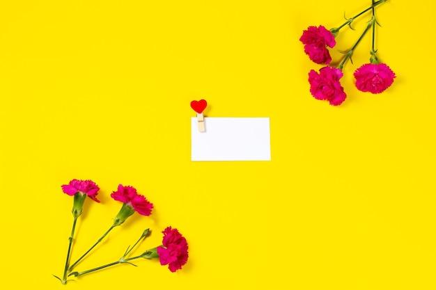 黄色の背景に空白のグリーティングカードとピンクのカーネーションの花。