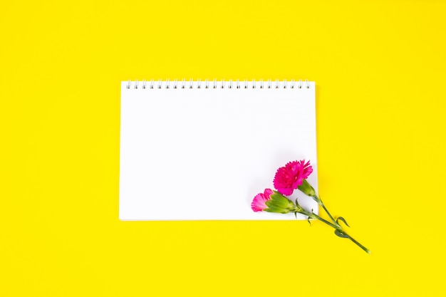 Pink carnation flowers with notebook year