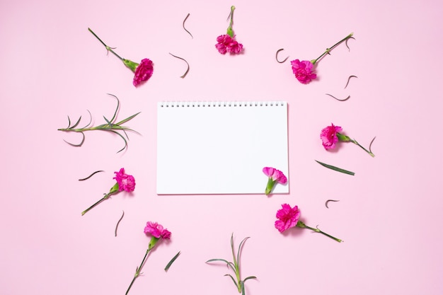 Pink carnation flowers with open notebook on pink background.