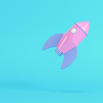 파스텔 색상의 밝은 파란색 배경에 분홍색 만화 스타일 로켓. 미니멀리즘 개념입니다. 3d 렌더링