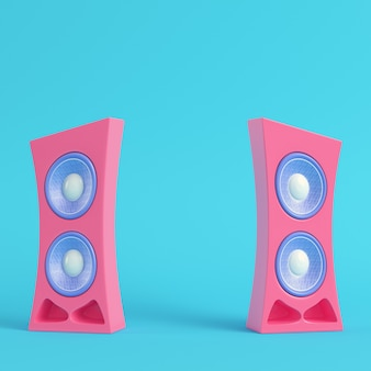 Pink cartoon-styled speaker on bright blue background in pastel colors