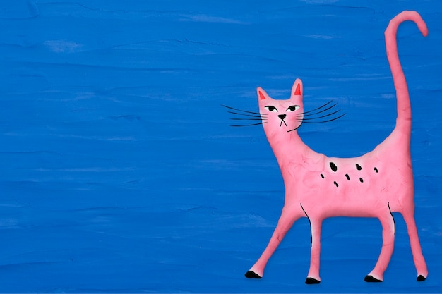 Pink cat in plasticine clay style