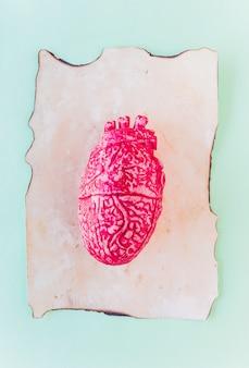 古い紙の上のピンクのセラミック人間の心