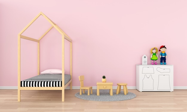 Pink child room interior for mockup