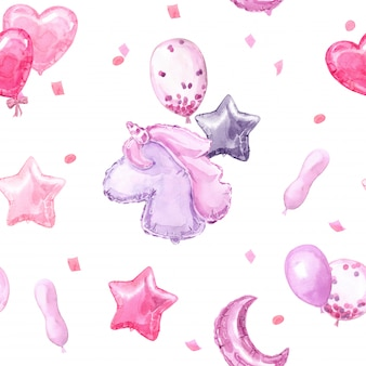 Pink children seamless pattern with bright balloons, stars, unicorn and hearts