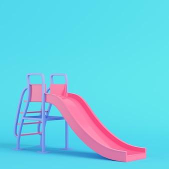 분홍색 아이들은 파스텔 색상의 밝은 파란색 배경에서 미끄러집니다. 미니멀리즘 개념입니다. 3d 렌더링