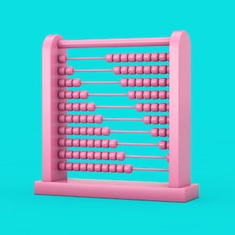 파란색 배경에 이중톤 스타일의 핑크 어린이 장난감 두뇌 개발 주판. 3d 렌더링