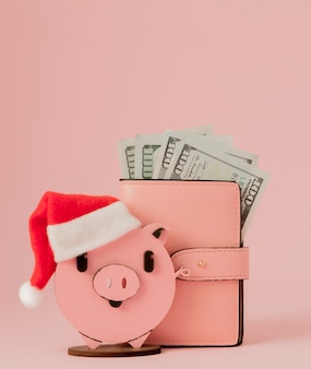 Pink christmas pig and purse with dollars