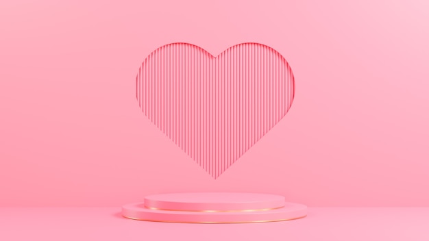 Pink circle podium for product presentation on pink lath wall heart shape hole background minimal style.,3d model and illustration.
