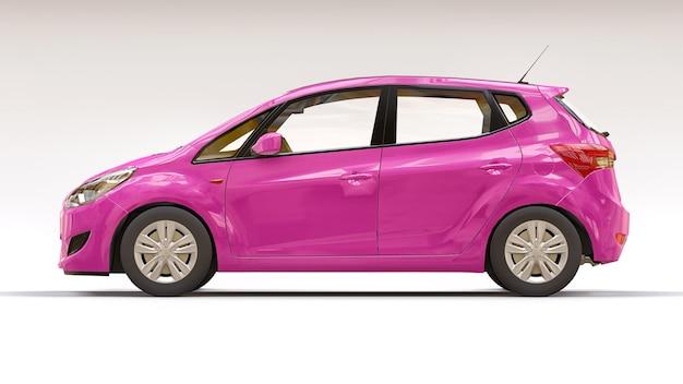 창의적인 디자인을 위한 빈 표면이 있는 분홍색 도시 자동차. 3d 그림입니다.