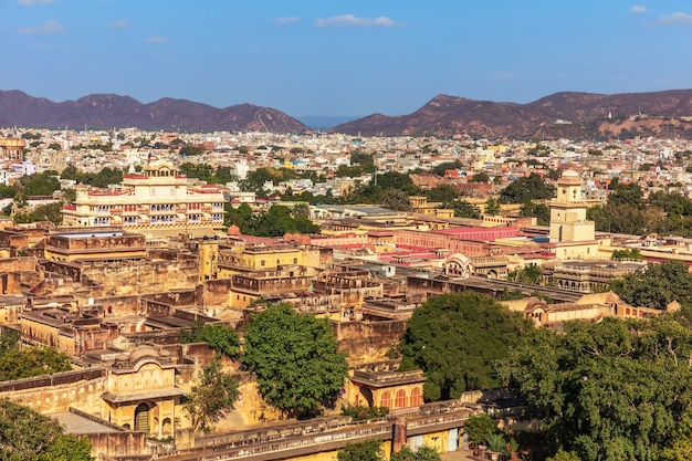 Pink city of jaipur, eaerial view on the ancient buildings, india.