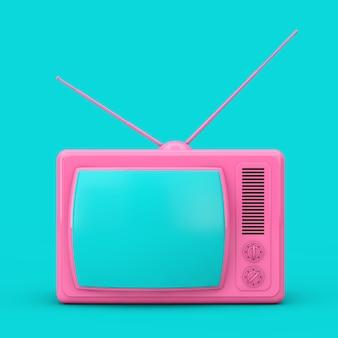 Розовый классический винтажный телевизор в двухцветном стиле на синем фоне. 3d рендеринг