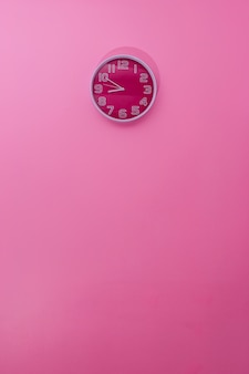 Pink clock on pink wall home decoration sweet color style