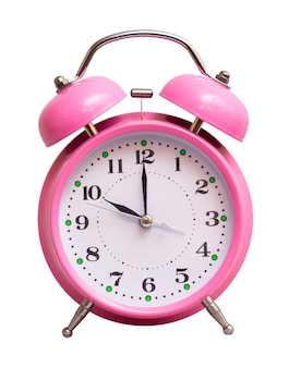 The pink clock on a white isolated show 10 hour
