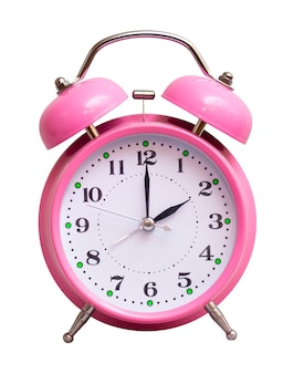 The pink clock on a white isolated show 2 hour