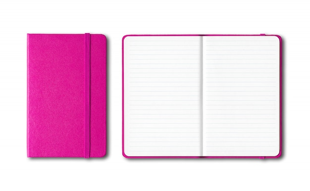 Pink closed and open lined notebooks isolated