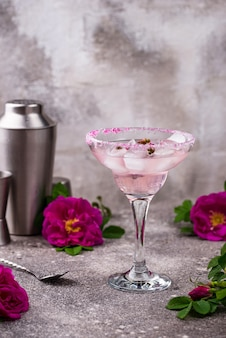 Pink cocktail margarita with rose syrup