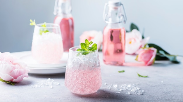Pink cocktail with crushed ice