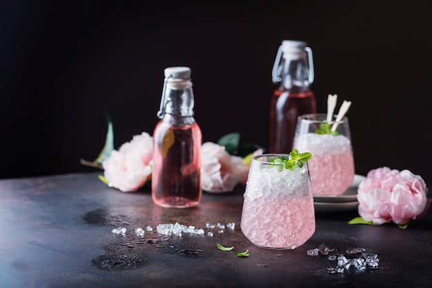Pink cocktail with mint