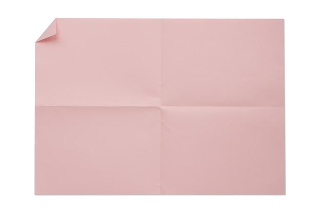 ピンク色の空白の白い背景で隔離の4a折り紙。