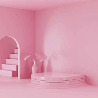 Pink color scene podium display for product display. 3d rendered photo