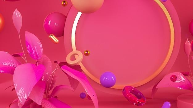 Pink colorful interior 3d illustration render