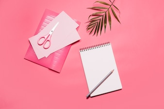 Pink composition of notepad and papers