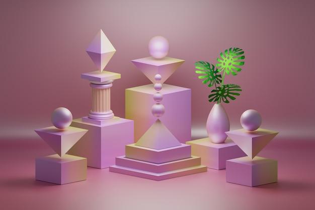 Розовая композиция с низкополигональными геометрическими формами декоративных объектов и вазой с зелеными листьями монстеры.