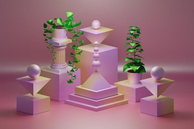 Розовая композиция с низкополигональными геометрическими объектами и зелеными растениями в горшках с листьями