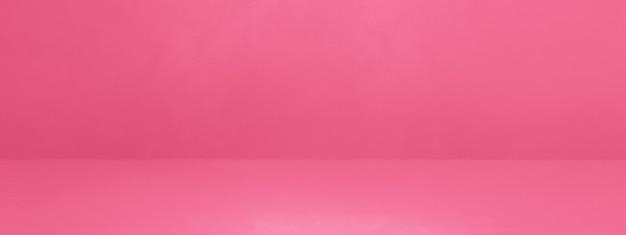 ピンクのコンクリートインテリア背景バナー。空のテンプレートシーン