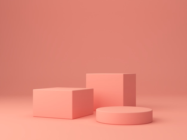 サンゴの抽象的な背景にピンクのサンゴの形。最小限のボックスと幾何学的な表彰台。