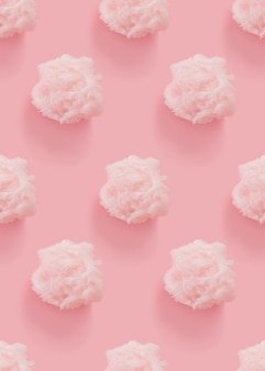 Розовая вата бесшовный узор на розовом фоне