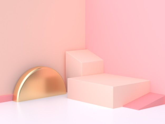 Pink cream wall geometric abstract scene 3d rendering