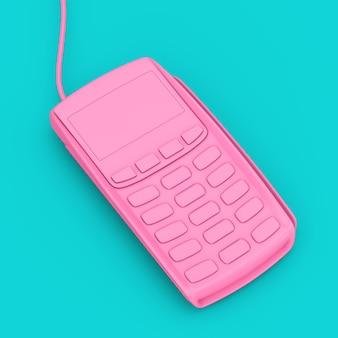 파란색 배경에 이중톤 스타일의 핑크 신용 카드 결제 터미널. 3d 렌더링