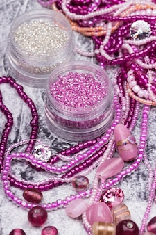 Pink and crystal glass bead mix