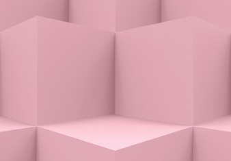 Pink cube boxes cornor wall background